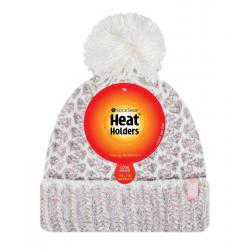 Ladies feathered knit pom pom hat lund coral/cream
